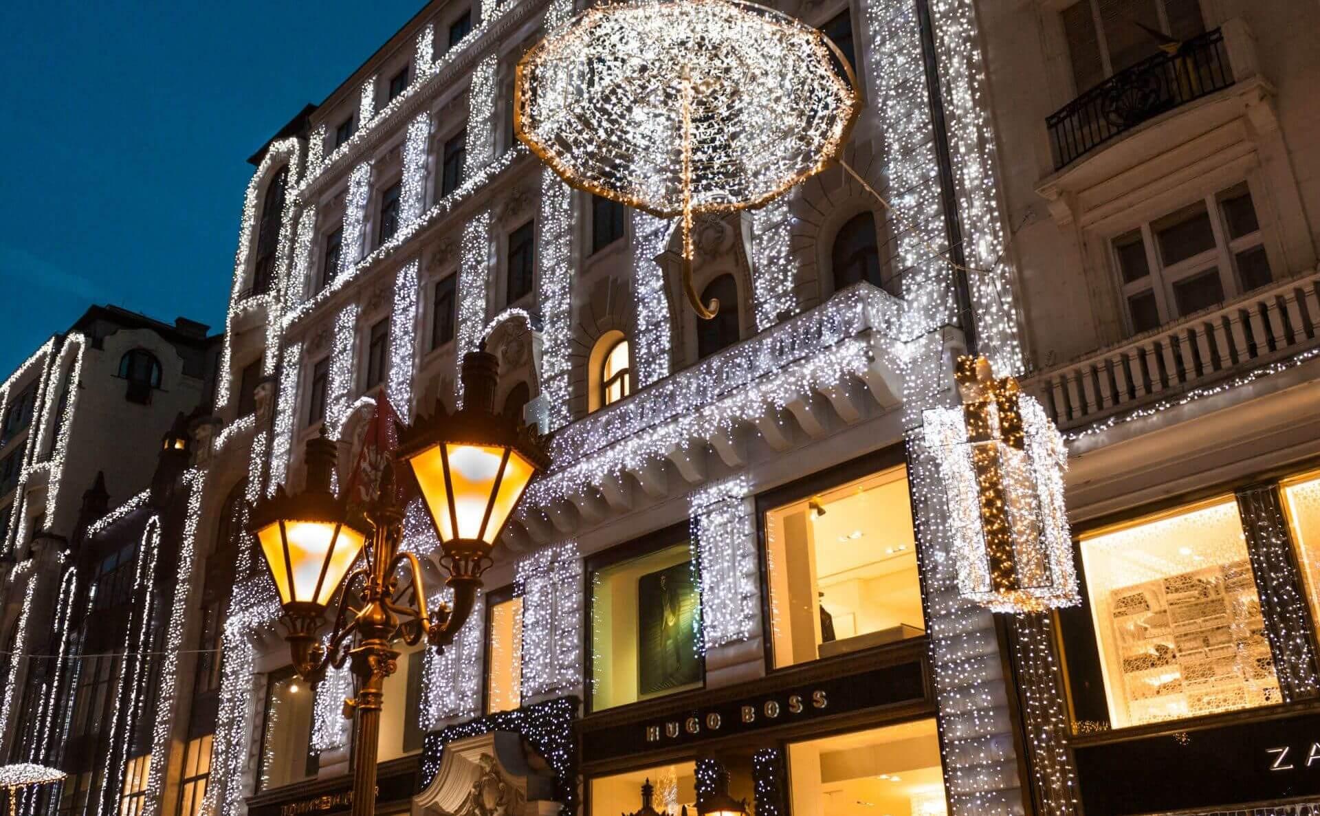 בודפשט הונגריה חג המולד רחוב האופנה